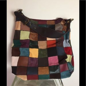 Lucky Brand HUGE Patchwork Leather Boho Toto Bag